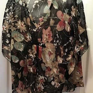 Black chiffon blouse with earth tone floral print